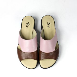 Pink coffee color matching leather slippers