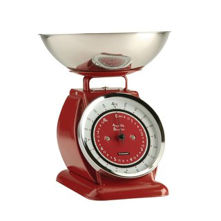 British Rayware industrial wind retro Bella arc shape 4 kg kitchen mechanical scale (red)