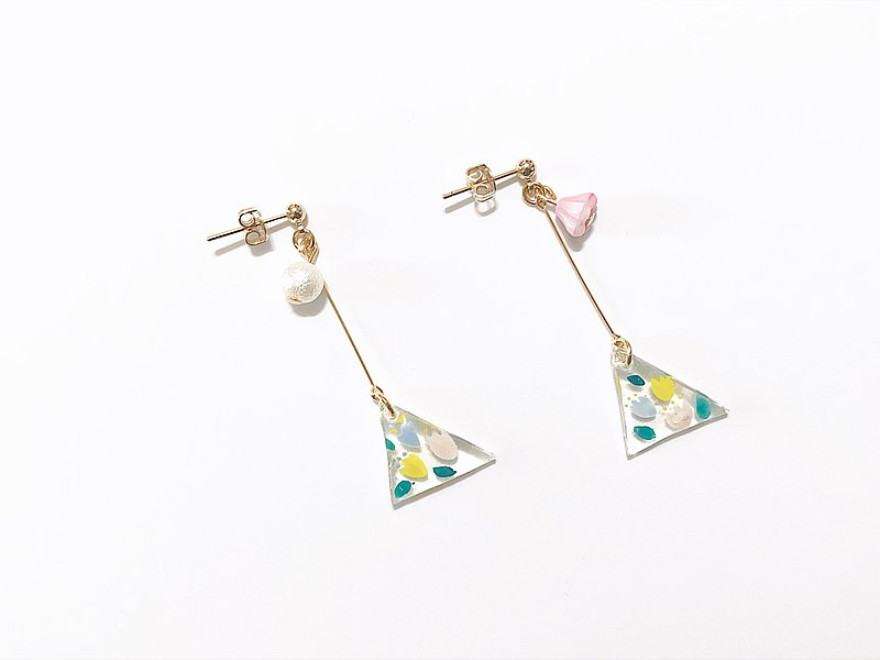 Colorful Flower Rain Series-Huayu Street Handmade Earrings Hand-painted Dangle Ear Pins/Ear Clips