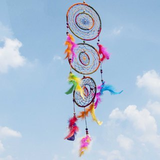 Hand-woven cotton and linen rainbow dream catcher Boho wool line dream catcher feather dream catcher - rotation