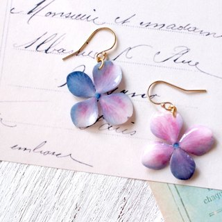 Mix color Hydrangea Earrings With Pearl/Pierced or Clip-on