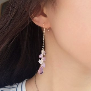 Amethyst Gemstone 925 silver-earrings,Valentine's Day / wedding gift,Limited edition handmade(Can be changed to spring-type clip-on earrings)