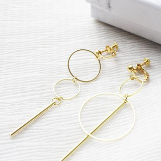 geometry. Simple double-circle brass long earrings NO.3