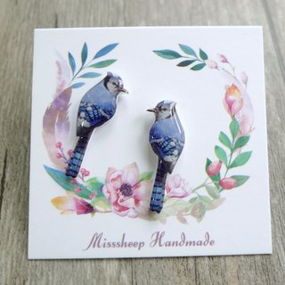 U06- Take me home - Blue long tail bird hand made earrings (ear pin / transparent ear clip)