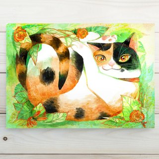 Tricolor cat litter / postcard postcard