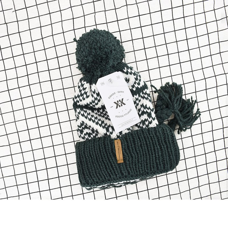 Handmade hook delicate wool cap Winnie dark green spot - the United States Krochet Kids moral fashion brand counters