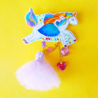 Riding unicorn in the starlight brooch