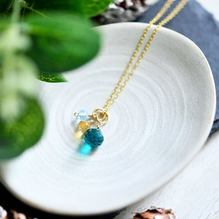 Green Quartz Citrine Sky Blue Topaz Necklace green quartz citrin skyblue topaz necklace pendan