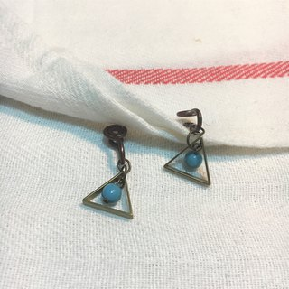 Small triangle blue ear clip earrings