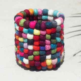 Handmade wool felt pen holder / text furniture / pen holder / color wool felt pen holder / little pen holder - rainbow color bright pen holder
