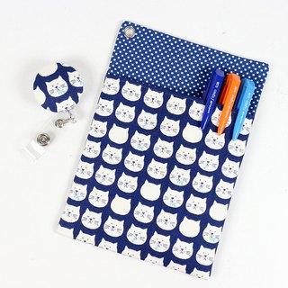 Physician Robe Pocket Leakproof Ink Bag + Document Holder - Kitty (Blue)
