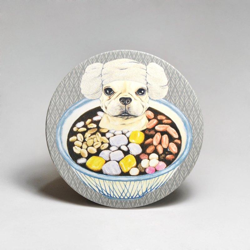 吸水陶瓷杯墊-法鬥泡燒仙草 (送貼紙)(可加購客製文字)