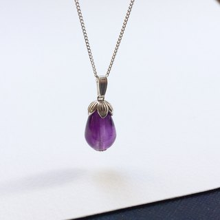 Cute little eggplant - 925 silver amethyst necklace