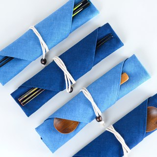 Goody Bag - Blue dyed cloth bag, one chopsticks and one chopsticks set (3 optional)