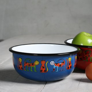 Smaltum Prague enamel soup bowl _ pink round meow microphone _ blue and green (FDN000471)