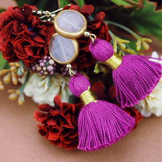 Rose quartz earrings / Romantic fuchsia pink tassel earrings