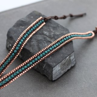 Green Onyx Faceted Copper Double Wrap Bracelets Chain