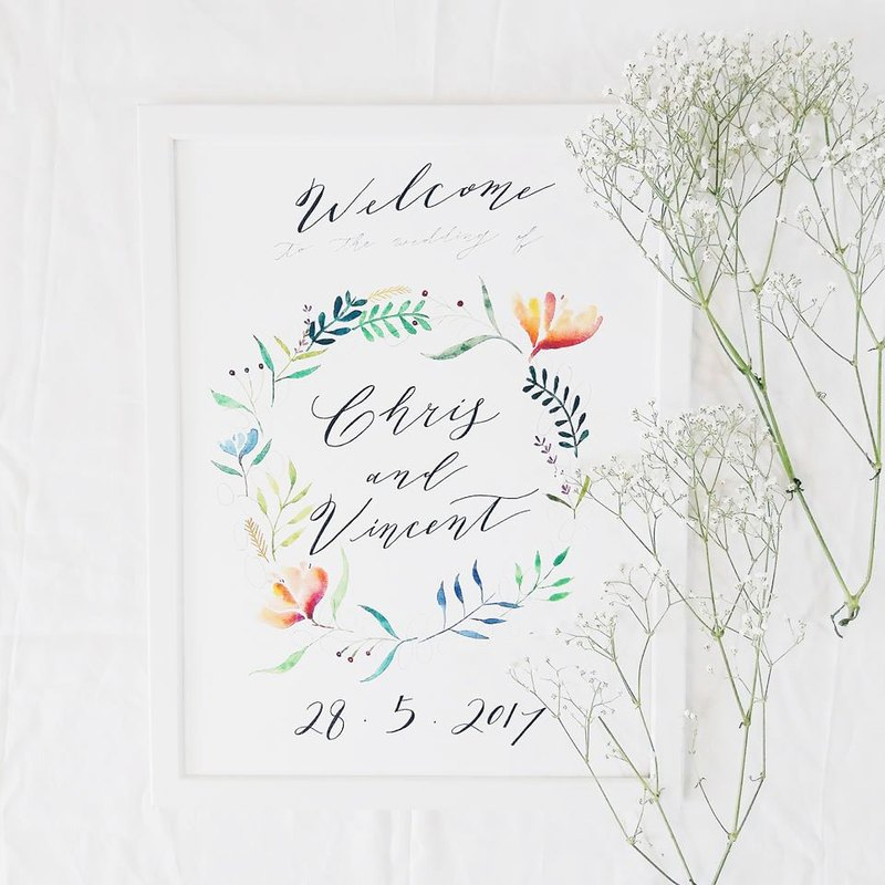 Mstandforc wedding decoration watercolor welcome painting