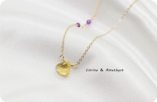 Gem quality Constitution to call happiness Citrine and amethyst K14GF necklace