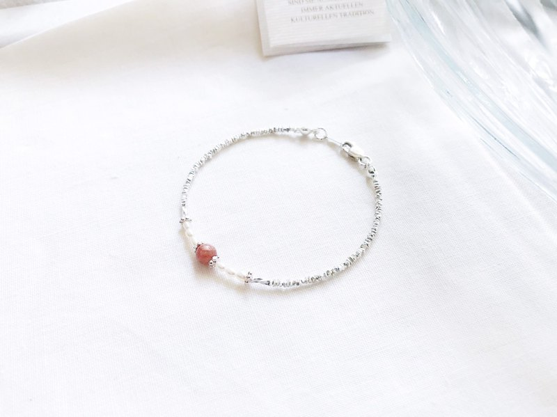 ::Silver Mine Series - Limited Edition:: Sunstone Small Pearl Broken Silver Bracelet / Anklet / Dual Chain