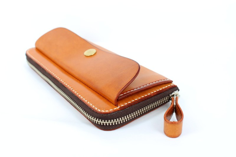MOOS Italian orange vegetable tanned leather leather handkerchief long long package, with coin purse, hand sewing leather