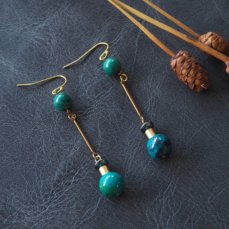 Malachite and Bali-Turquoise connection earrings