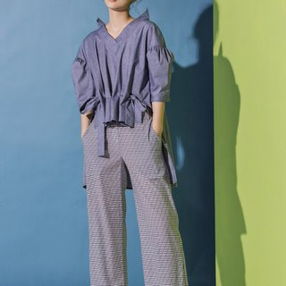 Stripe side slit nine pants