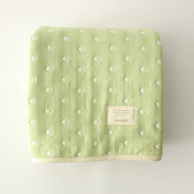 MARURU Luxurious Six-layer gauze baby blanket  (M) Green dot (Made in Japan)
