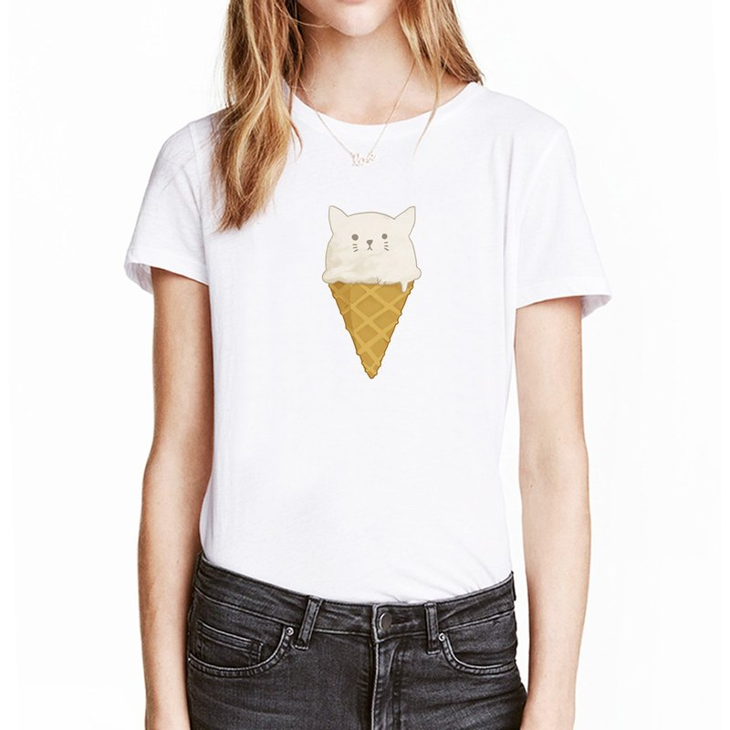 Cat ice cream [stock] short-sleeved T-shirt white hair animal dog food own brand Wen Qing