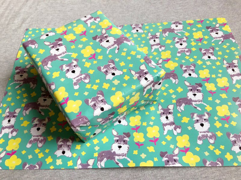 Schnauzer dog and flower wrapping paper 5 sets