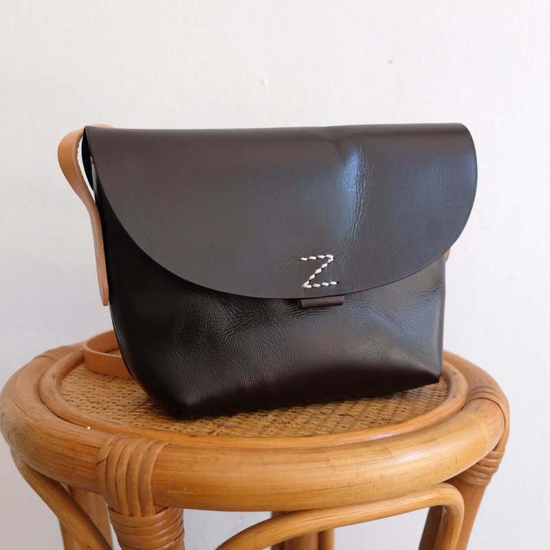 Small Leather Bag in Dark Brown / Shoulder Messenger Bag
