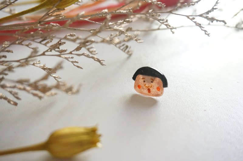 Hand-painted - cherry little mouth earrings / pair