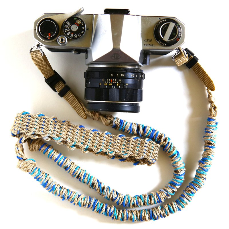 MIX hemp camera strap blue / belt