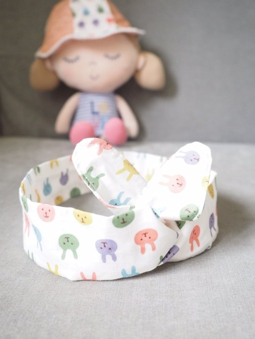 Handmade baby/ kid hat and headband set with colorful rabbit pattern