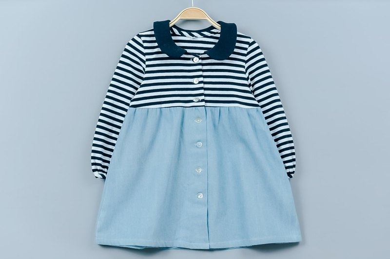 Round neck long sleeve small dress - denim striped hand made non-toxic dress children's wear
