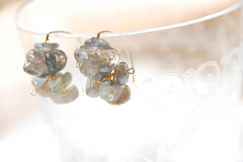 Labradorite tip marquis hook earrings 14 kgf