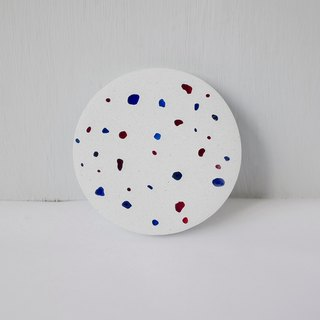 No room │ glass stone grindstone cement coaster red and blue
