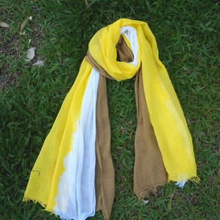 Akihito leaves turmeric stained three-color cotton shawl scarf