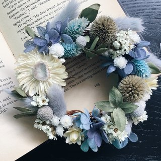 Exclusive custom made REGOLITH lunar soil [good flowers] Nicaragua blue Niagara non-wither dry wreath birthday gift Valentine's Day gift hand-made opening wreath (XS)