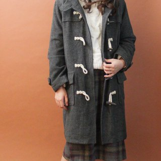 Retro autumn and winter college wind loose hooded dark gray vintage horn buckle coat jacket