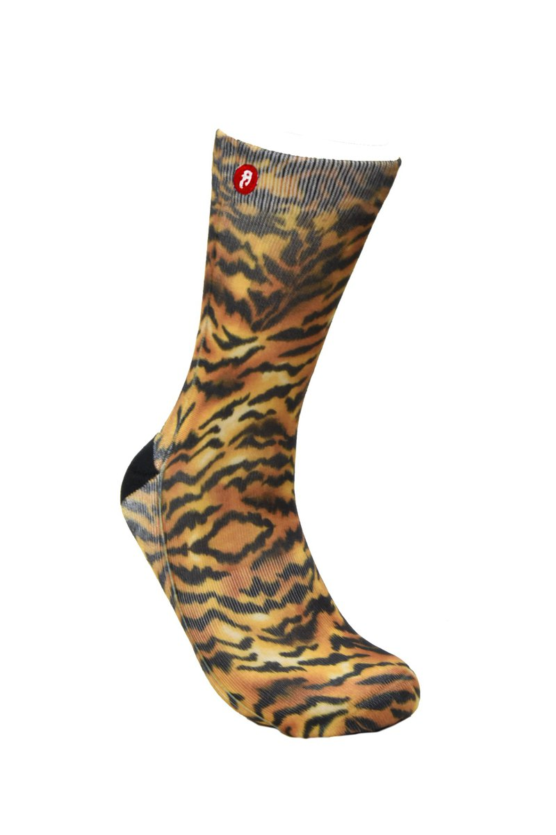 Fool's Day Printed Crew Socks - Tiger Yellow
