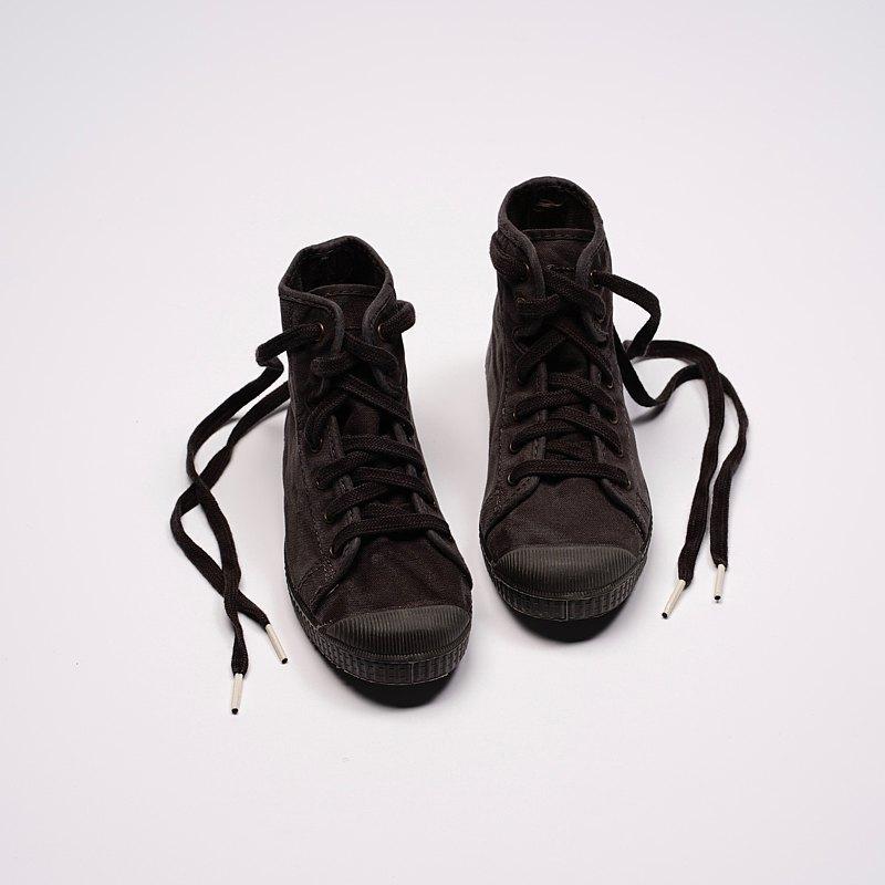 西班牙帆布鞋 CIENTA U61777 01 黑色 黑底 洗舊布料 童鞋 高筒