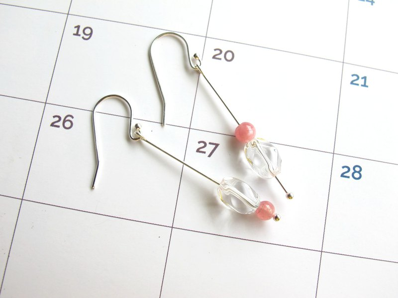 Red stone x white crystal x 925 silver hook x 925 silver [brown sugar] - crystal earrings series