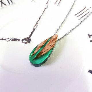 Luhuamuyu-Sen Green Log Handmade Series Wood Necklace with Anti-allergy Steel Chain