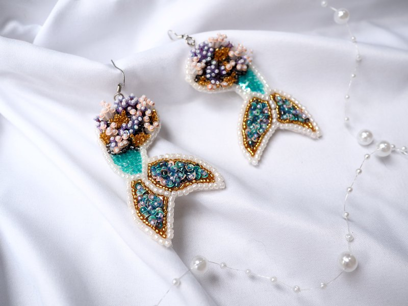 Embroidery mermaid tail earrings | Hooks and Clip-on earrings