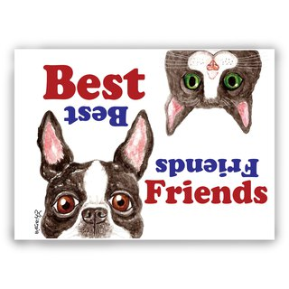 Hand-painted illustration Universal / postcards / cards / illustration card / Friendship card - dog cat good friend
