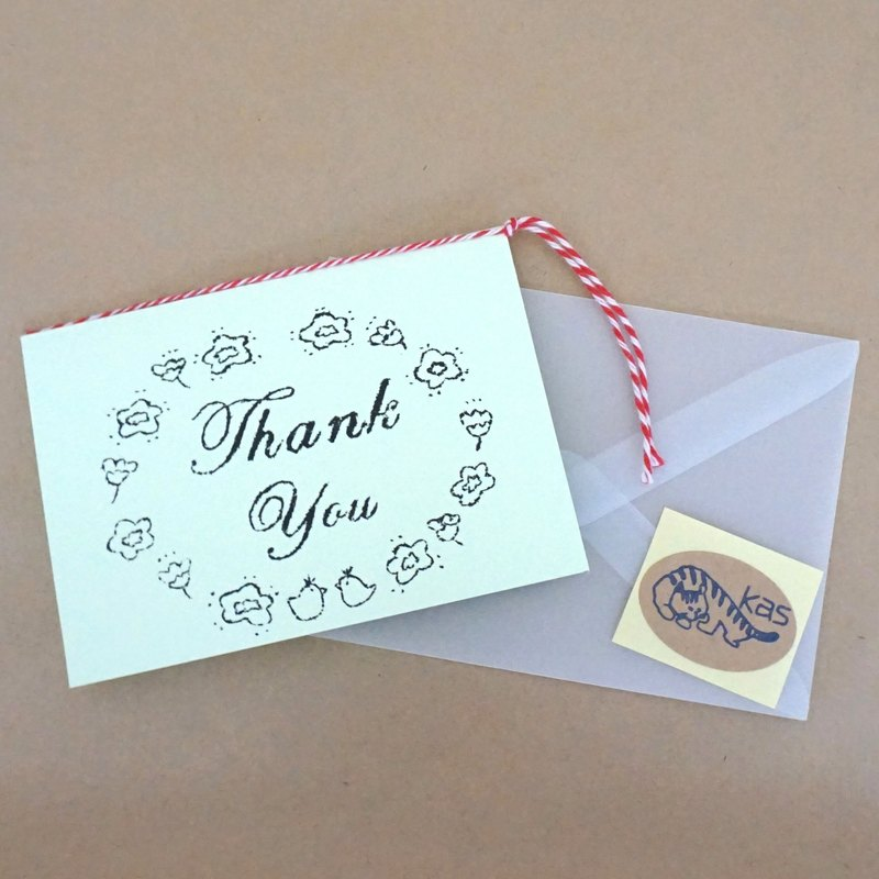 "Mimeograph print greeting card ""Thank You"" (sherbet green)"