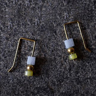 Lemon Jade Glacial Stone Rectangular Small Earrings