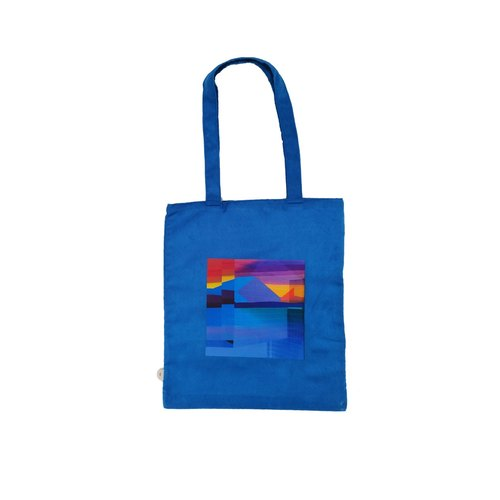 Blue frame hand Tote bag