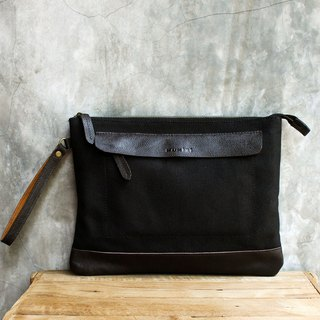 Canvas Clutch / iPad case with Cow Leather - Black Canvas + Brown Cow Leather
